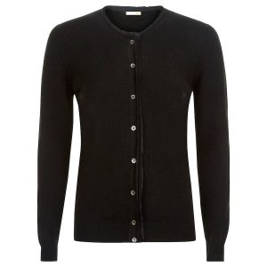 Cashmere Crew Neck in black with cut edges and silk detail_Black copy