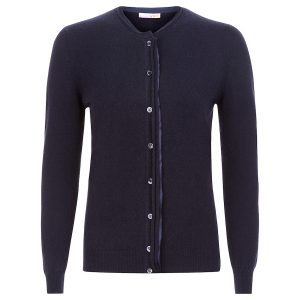 Cashmere Crew Neck in navy blue with cut edges and silk detail_Navy copy
