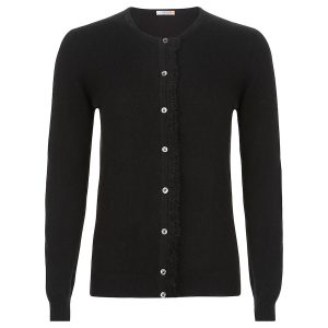 Cashmere Crew neck Cardigan in black with fringe detail_Black copy