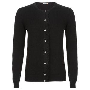 Cashmere Crew neck Cardigan in black with fringe detail_Black copy
