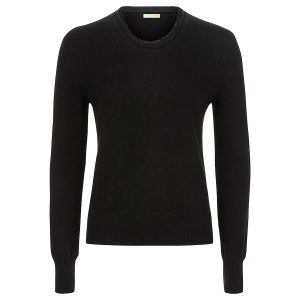 Crew neck sweater with cut edges and silk finishes in black_Black copy 2