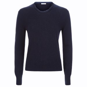 Crew neck sweater with cut edges and silk finishes in navy_Navy copy