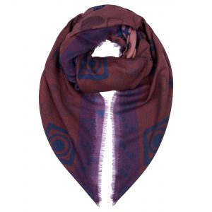 London W11 Cashmere Scarf Leigh print Windsor Wine 0