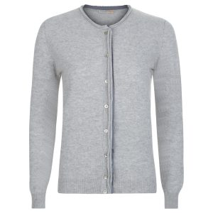 London W11 Cashmere cardigan in grey with cut edges 0