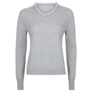 London W11 Cashmere crew neck sweater in Light Grey with fringes 0