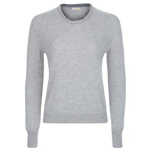 London W11 Cashmere crew neck sweater with cut edges in grey 0