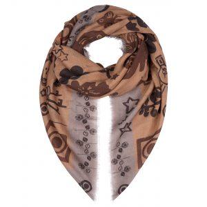 London W11 Cashmere scarf Leigh print caramel beige 0