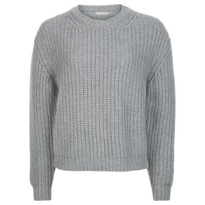 London W11 Chunky cashmere crew neck jumper in grey 0