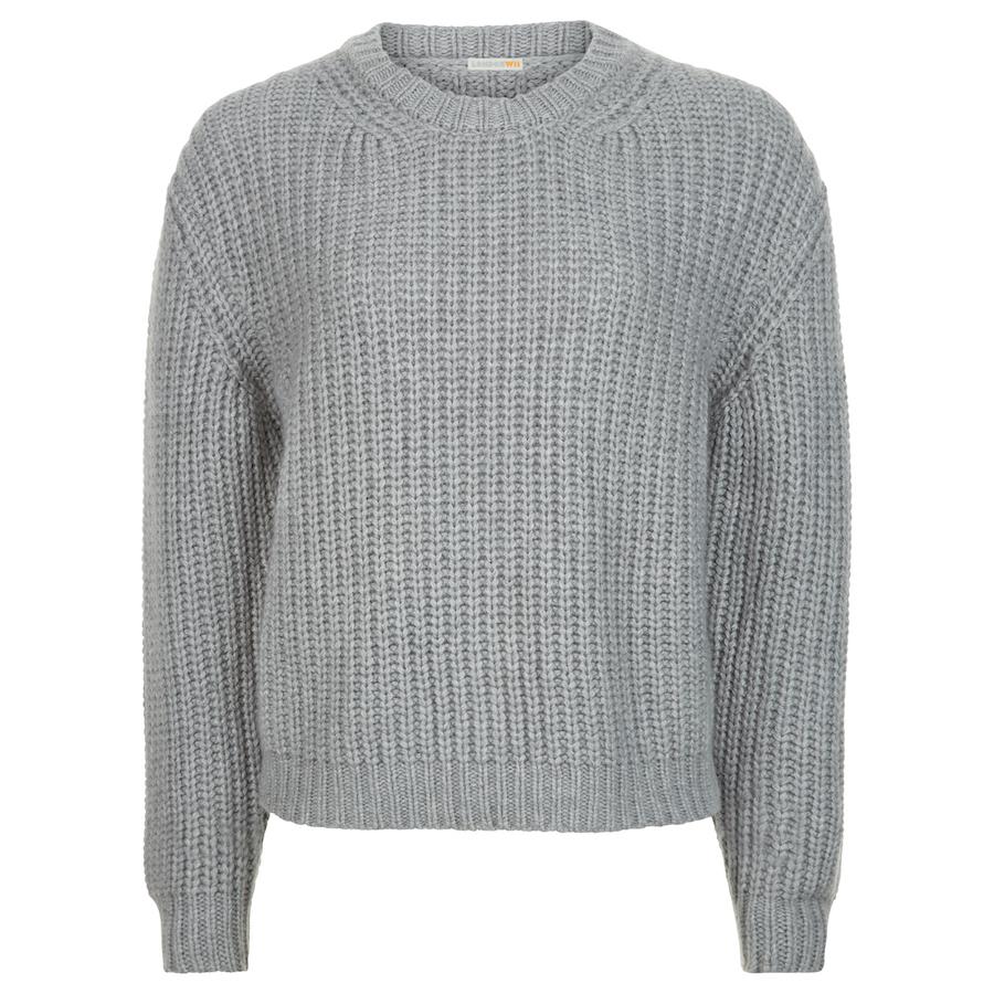 Grey Chunky Rib Cashmere Sweater – London W11
