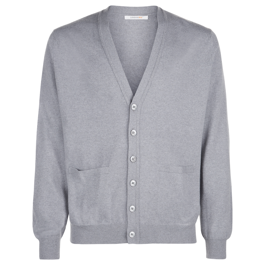 Men's Grey Scottish Cashmere Cardigan – London W11