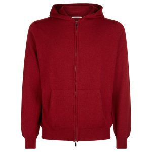 London W11 Men cashmere cardigan with hood in red 0