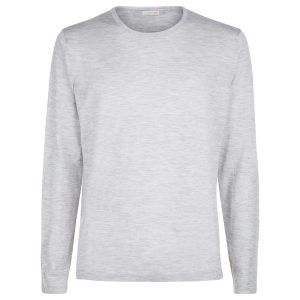 London W11 Men cashmere crew neck jumper in superfine cashmere grey 0
