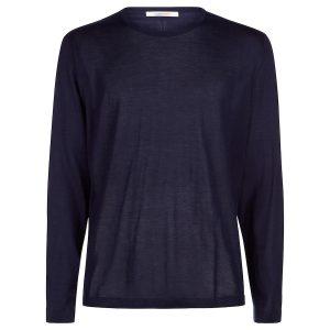 London W11 Men cashmere crew neck jumper superfine cashmere in navy blue 0