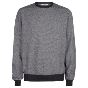 London W11 Men cashmere crew neck jumper with stripes 0