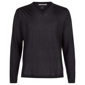 London W11 Men cashmere v neck sweater in black 0