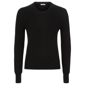 London W11 cashmere crew neck jumper black with raw edges 0