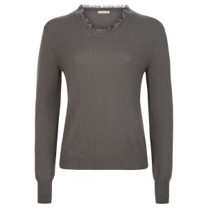 London W11 cashmere crew neck sweater in Oyster Grey with fringes 0
