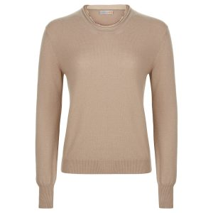 London W11 cashmere crew neck sweater in greige with raw edges 0