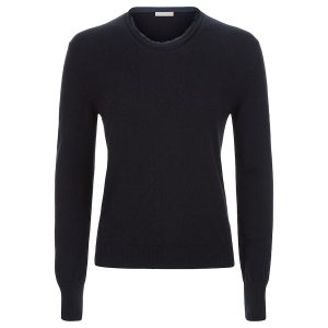 London W11 cashmere crew neck sweater in navy blue with raw edges 0