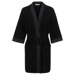 London W11 cashmere robe in black with silk finish 0