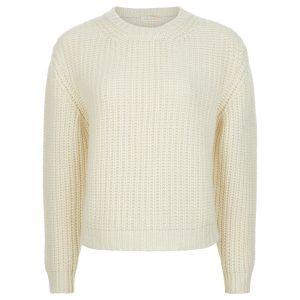 London W11 chunky cashmere crew neck sweater in cream 0