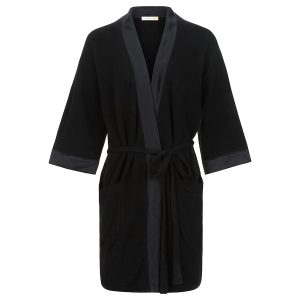 Lounge robe in black with silk detail_Black copy
