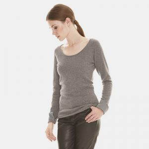 cashmere crew neck sweater with silk cuff in grey londonw11 (2) copy