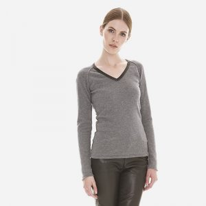 cashmere leather v-neck sweater in grey londonw11 copy