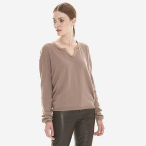 cashmere nodge neck sweater with leather detail in powder beige londonw11 copy