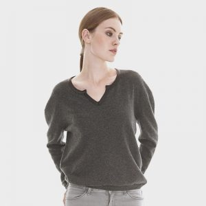cashmere nodge neck sweater with leather piping in greylondonw11 copy