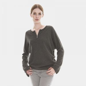 cashmere sweater with zip front in grey londonw11 copy