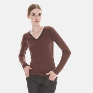 cashmere v-neck sweater with leather piping in brown londonw11 copy