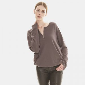 cashmere zip front sweater in grey londonw11 copy