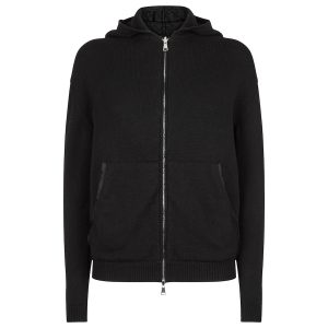 Cardigan Hoody silk detail black copy