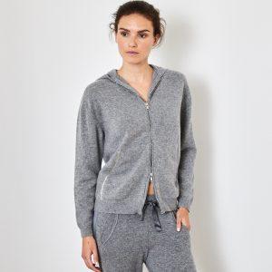 Cashmere hoody cardigan grey 1