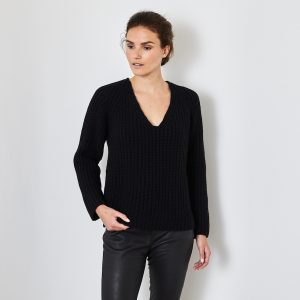 Chunky Rib Cashmere V-neck sweater 1