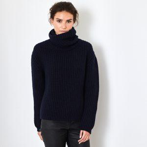 Chunky Rib Polo neck navy cashmere sweater 1