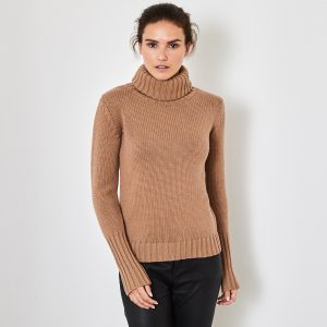 Chunky polo neck cashmere sweater beige 1