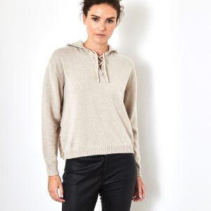 Lace up cashmere sweater in beige 1