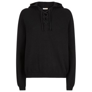 Sweater with Hood lace up detail Black copy