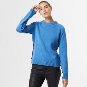 Chunky cashmere crew neck blue 4