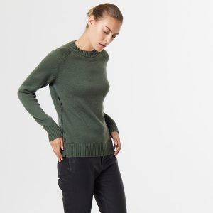 Chunky cashmere crew neck green 1
