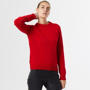 Chunky cashmere crew neck red 1