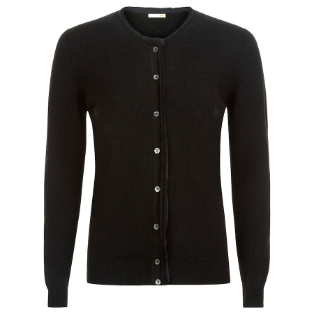 Fine 100% Italian cashmere cardigan with silk detail