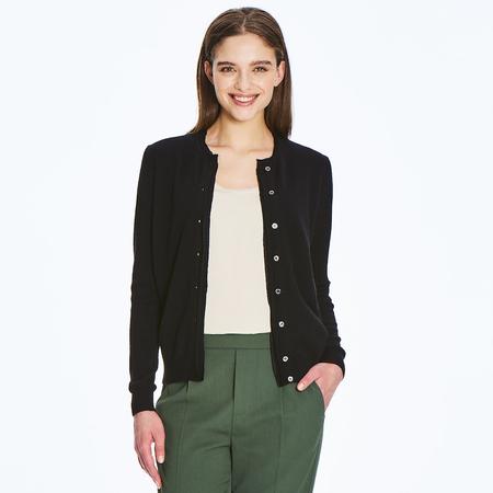 Fine 2 ply 100% Italian cashmere cardigan with silk raw edge detail