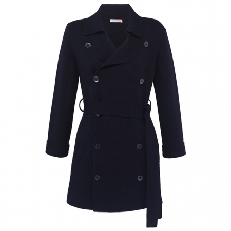 Navy Blue Knitted Cashmere Peacoat