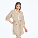 Soft 2 ply 100% Italian Cashmere Robe with silk detail in Sesame