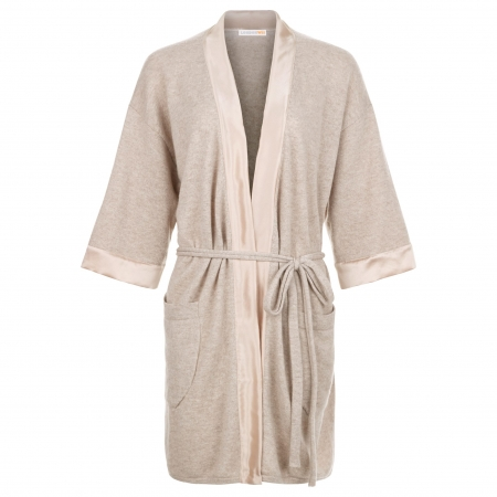 100% Italian Cashmere Robe with silk detail