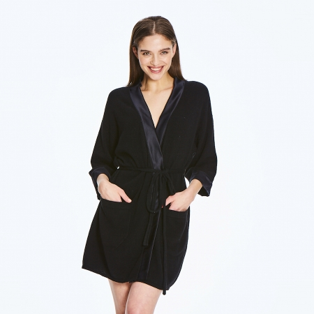 Soft 2 ply 100% Italian Cashmere Robe with silk detail