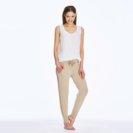 Soft 2 ply 100% Italian Cashmere Track Pants with silk detail in beige